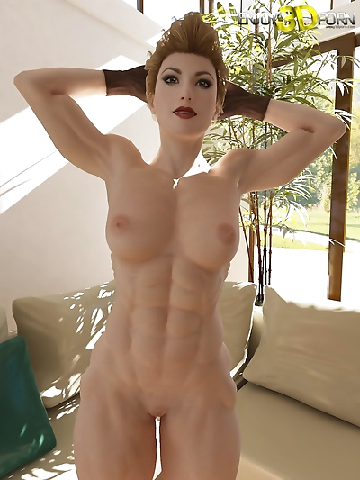 Nude muscle girl shows off..