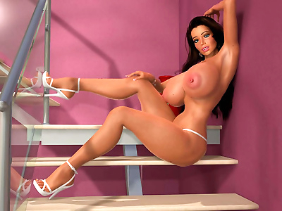 Perfect 3d babe shows large..