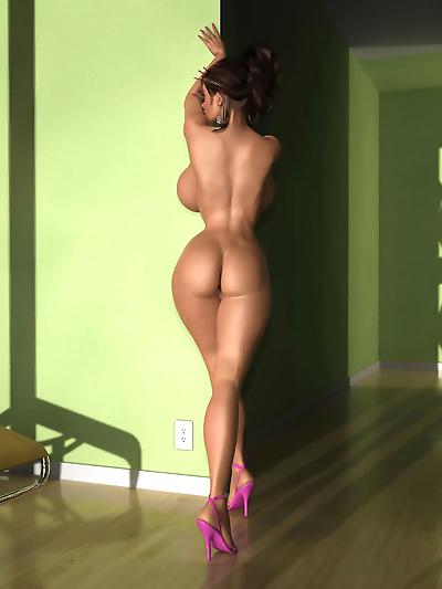 Horny 3d brunette babe shows..