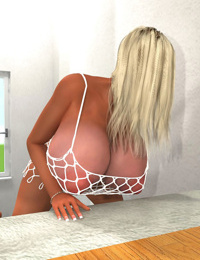 Busty 3d blonde in fishnet body suit hottie posing on the stairs - part 447